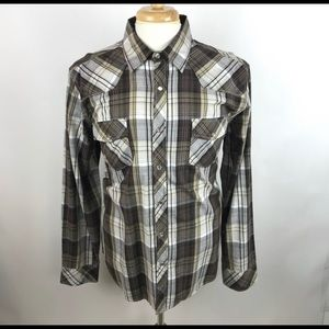 Men Helix Button Down Shirt Checkered Brown Large